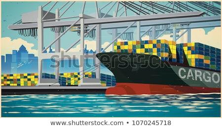 Сток-фото: ретро · плакат · порта · большой · контейнера · стиль