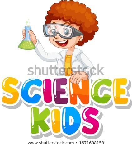Woord wetenschap kinderen lab illustratie kind Stockfoto © bluering