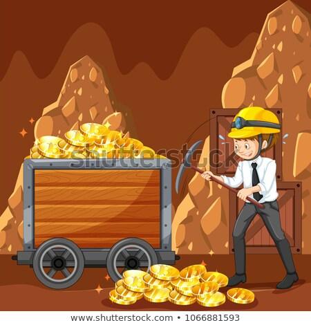 bitcoin · bányászat · valuta · vektor · művészet · illusztráció - stock fotó © bluering