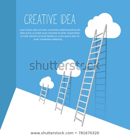 лестнице облака флаг иллюстрация Top Сток-фото © unkreatives