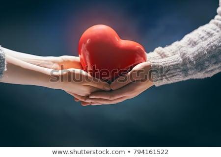 man · hand · Rood · hart · vrouw · liefdadigheid - stockfoto © andreypopov