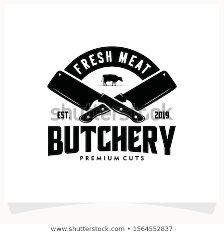 Logo of Butcher meat shop with Cleaver and Chefs knives, text the Butcher, Meat shop. Logo template  Stock photo © MarySan