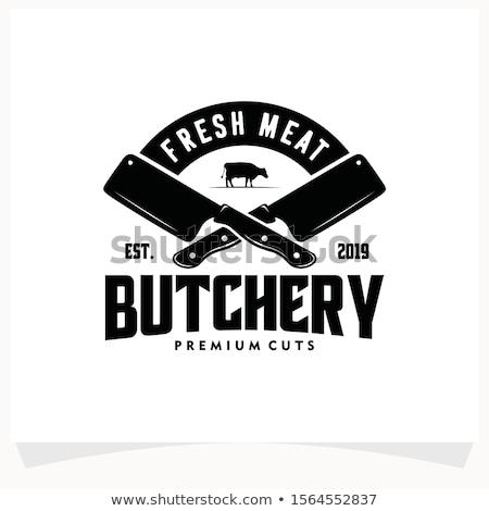 etichetta · carne · di · maiale · bistecca · carne · taglio · testo - foto d'archivio © marysan