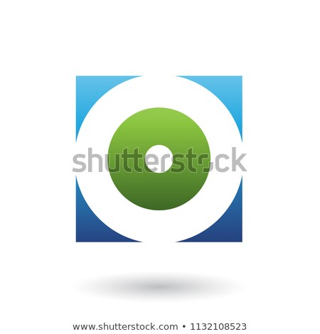Blue and Green Square Icon of a Thick Letter O Vector Illustrati Stock photo © cidepix