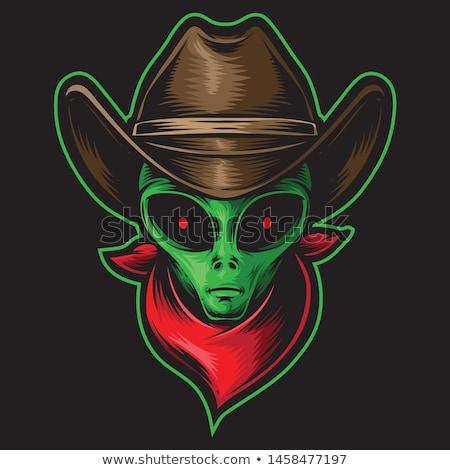 green alien head cartoon icon vector illustration stock photo © cidepix