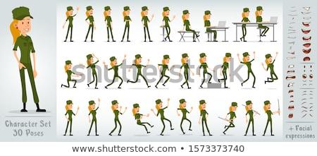 Enojado Cartoon nina soldado ilustración ninos Foto stock © cthoman