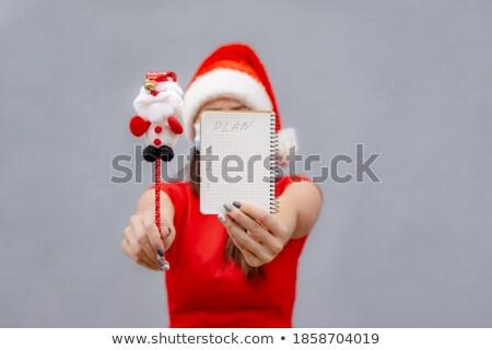 Mulher como ajudante posando natal Foto stock © acidgrey