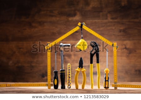 Huis omhoog meetlint toolbox hout Stockfoto © AndreyPopov