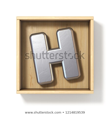 Silver metal letter H in wooden box 3D Stock photo © djmilic