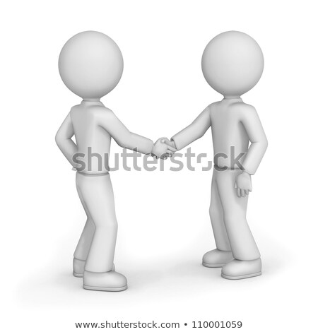 Foto stock: 3D · pequeño · personas · reunión · dos · amigos