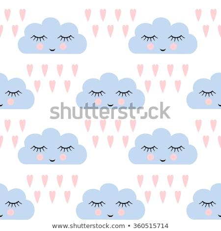 sem · costura · sorridente · adormecido · nuvens · azul · bebê - foto stock © Natali_Brill