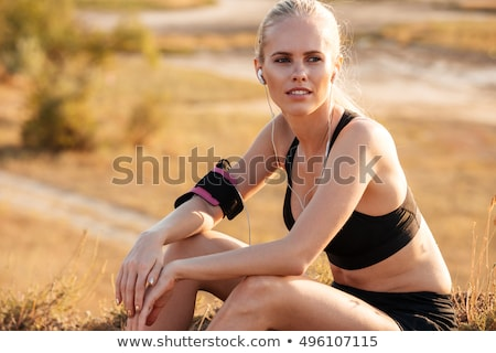 close up joyful young sportswoman stock photo © deandrobot
