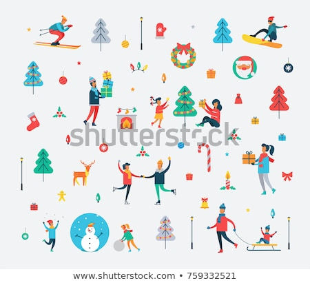 Christmas snowman and sledge toys, gift and fir tree Stock photo © karandaev