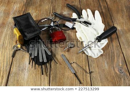 betörő · szerszám · áll · fekete · ruházat · kéz - stock fotó © ra2studio