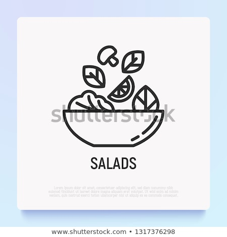 サラダドレッシング · 実例 · 文字 · ボウル · サラダ · 食品 - ストックフォト © tele52