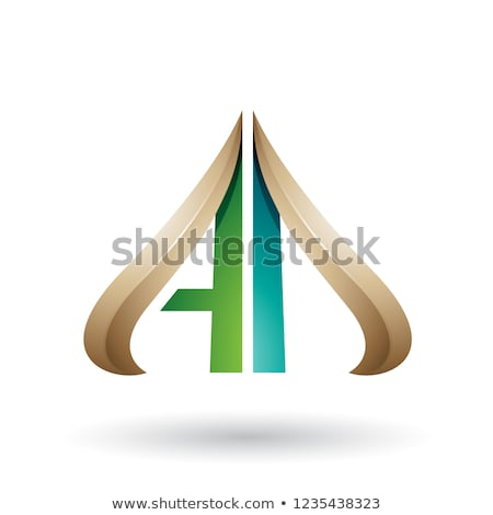 Green and Beige Embossed Arrow-like Letter D Vector Illustration Stock photo © cidepix