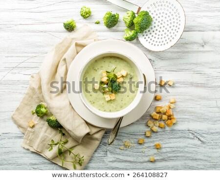 krém · brokkoli · leves · fehér · tál · vacsora - stock fotó © joker