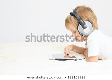 мало мальчика Touch рано обучения компьютер Сток-фото © Lopolo