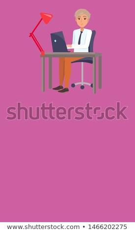 Irodai munka szalag szöveg minta derűs férfi Stock fotó © robuart