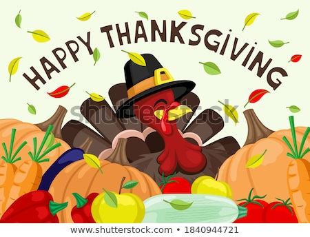 Happy Thanksgiving Day Turkey and Food Vector Stock photo © robuart