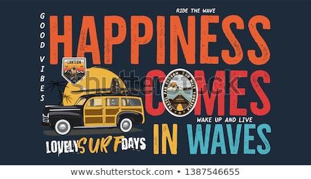 Surfe distintivo projeto ao ar livre aventura logotipo Foto stock © JeksonGraphics
