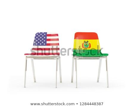 два стульев флагами Боливия изолированный белый Сток-фото © MikhailMishchenko