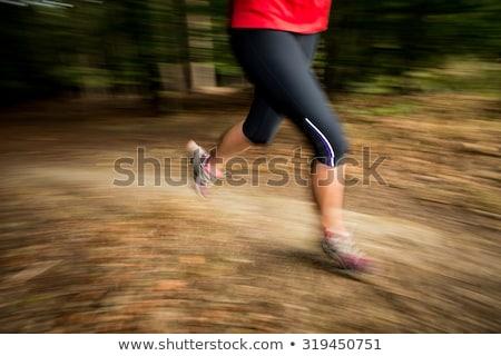 若い女性 · を実行して · 屋外 · 森林 · 高速 · 運動 - ストックフォト © lightpoet