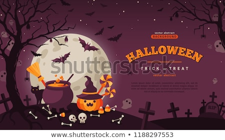Stock photo: halloween pumpkins, skeleton and candies
