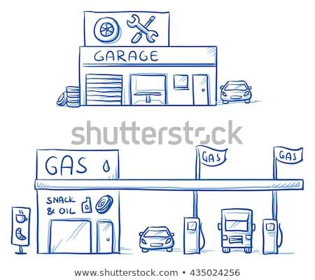автомобилей гаража рисованной болван икона Сток-фото © RAStudio