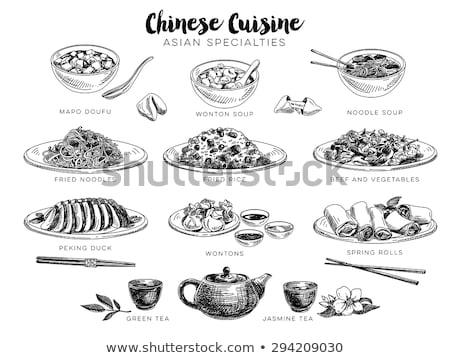 Tészta ázsiai konyha felszolgált evőpálcikák monokróm skicc Stock fotó © robuart
