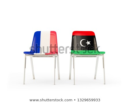 Two chairs with flags of France and libya Stock photo © MikhailMishchenko