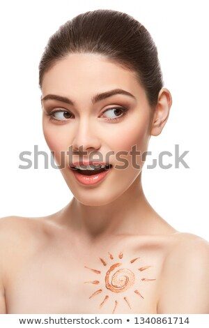 girl with sun drawing on forehead iso Stock photo © svetography