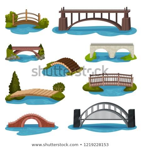 Wooden bridge design on white background stock photo © colematt