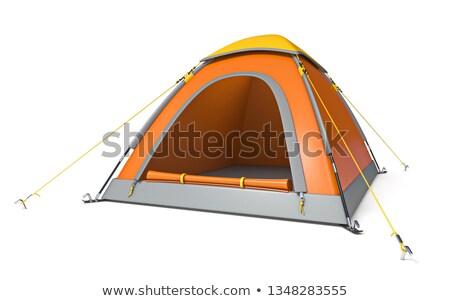 Stok fotoğraf: Turuncu · sarı · kamp · çadır · yandan · görünüş · 3D
