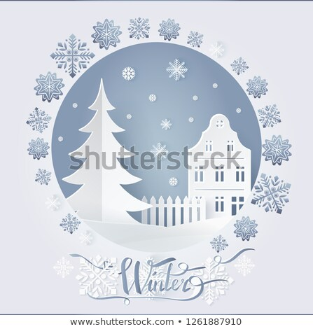 Winter Card High-rise Building and Fir-tree Vector Stock photo © robuart