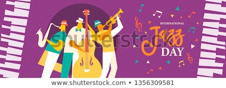 Jazz Day card of trumpet player in concert Stock photo © cienpies