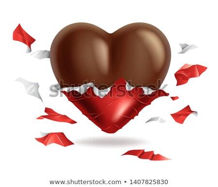Chocolate coração rasgado vermelho empacotar dia dos namorados Foto stock © MarySan