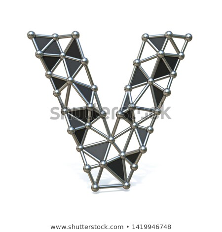 Wire low poly black metal Font Letter V 3D Stock photo © djmilic
