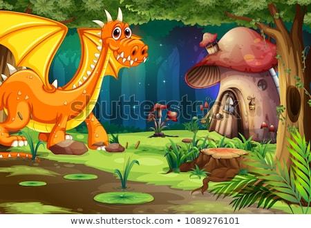 dragón · caballero · valiente · nino · castillo - foto stock © bluering