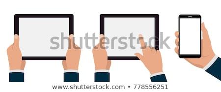 hand · tablet · sluiten · man - stockfoto © ra2studio