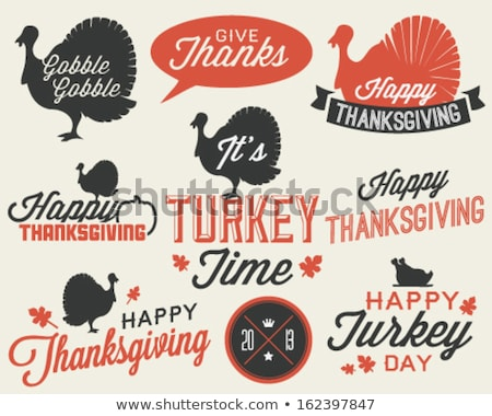 Happy Thanksgiving Poster with Icons Set Vector Stock photo © robuart