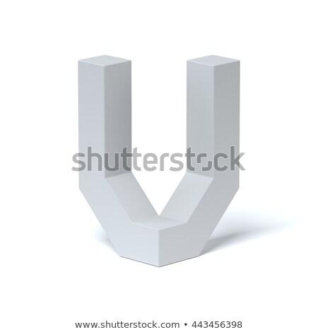 Blue extruded font Letter V 3D Stock photo © djmilic