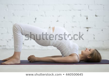beautiful pregnant woman with bridge on the back Stock photo © Lopolo