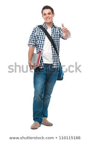 middelbare · school · student · handteken · jongen · permanente - stockfoto © dolgachov