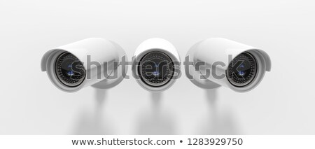 Három megfigyelés fényképezőgépek oszlop égbolt technológia Stock fotó © magraphics