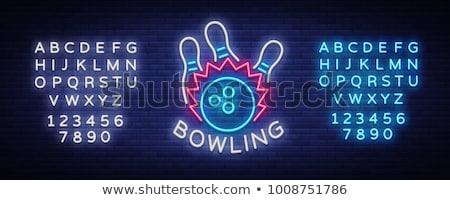 Palla da bowling neon etichetta sport promozione party Foto d'archivio © Anna_leni