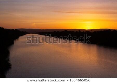 Nehir hüzün gün batımı gökyüzü su Stok fotoğraf © lovleah