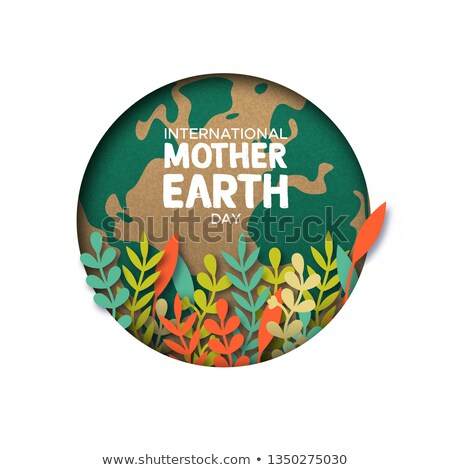 environment day card of papercut earth and plant stock photo © cienpies