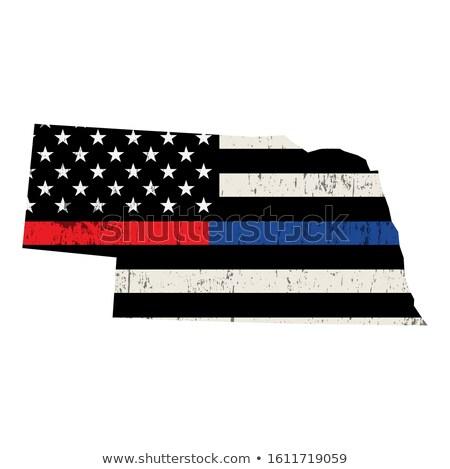Nebraska rendőrség tűzoltó támogatás zászló amerikai zászló Stock fotó © enterlinedesign