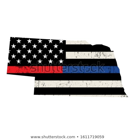 Nebraska policji strażak wsparcia banderą amerykańską flagę Zdjęcia stock © enterlinedesign